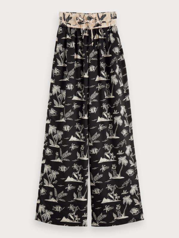 "MAISON & SCOTCH Damen Hose - ""Wide leg pants contrast waistb"""