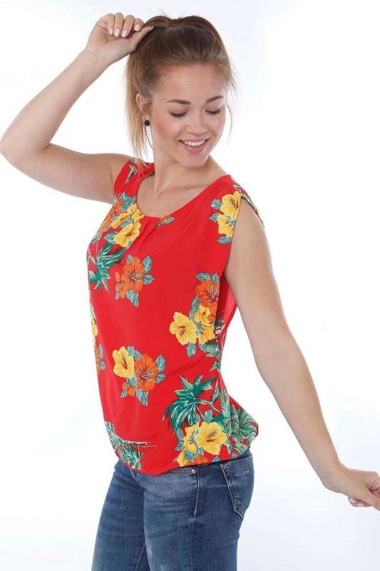 "STRANGE Damen Bluse ""Johanna red / tropcial flowers"""