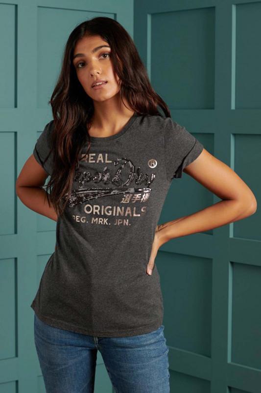"Superdry Damen T-Shirt - ""SCRIPT SEQUIN TEE CHARCOAL MARL"""