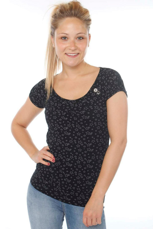 """STRANGE Damen T-Shirt - """"KELLY black / grey stars"""""""