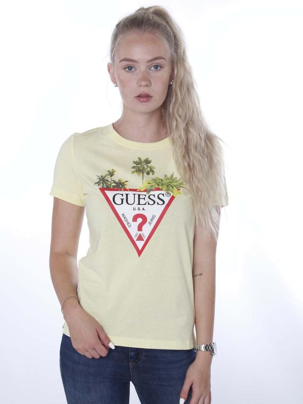 """Guess Damen T-Shirt - """"SS CN Palm triangle Tee yellow"""""""
