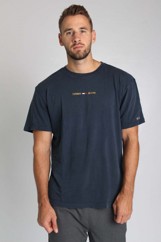 "TOMMY HILFIGER Herren T-Shirt - ""TJM METALLIC LINEAR LOGO TEE NAVY"""