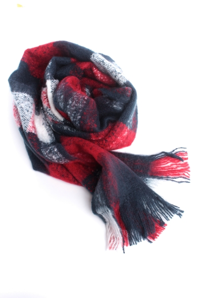 "STRANGE Damen Schal - ""Checked Scarf 1 Red/Blue/White"""