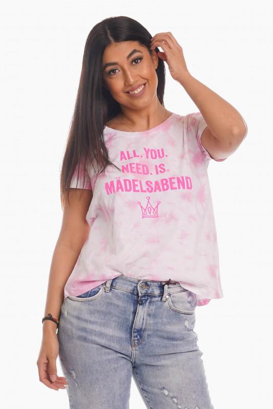 "Grace Damen T-Shirt- ""Batikshirt Mädelsabend pale rose"""