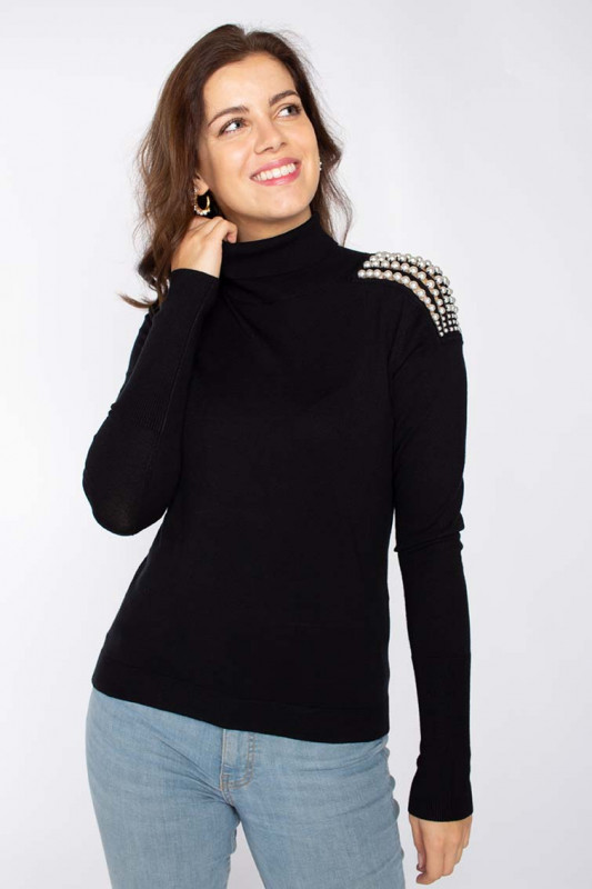 """LIU JO Damen Pullover - """"Maglia Chiusa M/L nero"""""""