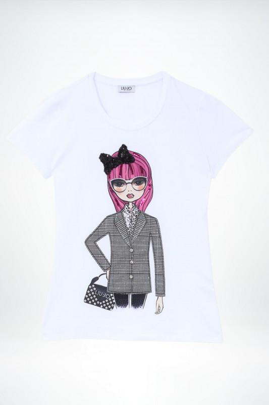 LIU JO Damen T-Shirt Moda M/C weiß mit Print und Applikationen