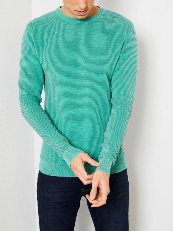 """PETROL Herren Longsleeve - """"Knitwear R-neck light pine"""""""