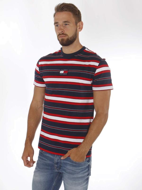 """TOMMY HILFIGER Herren T-Shirt - """"Stripe Logo Tee navy/multi"""""""