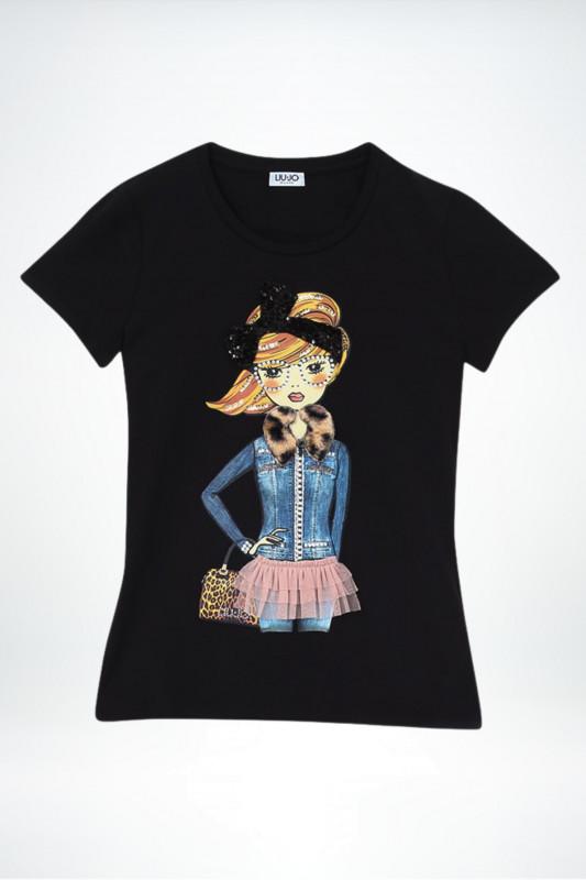 """Liu Jo Damen T-Shirt - """"T-Shirt mit Print und Applikationen nero"""""""