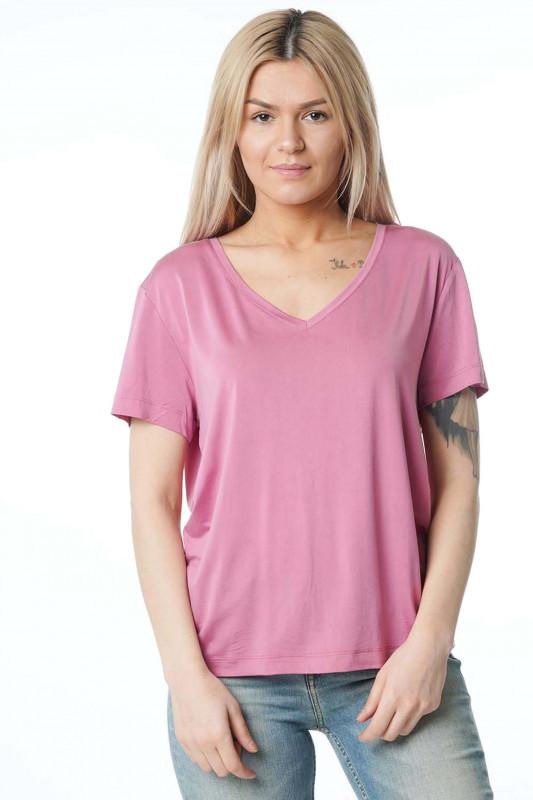 """Samsoe & Samsoe Damen T-Shirt - """"Siff v-neck h.rose col.6202"""""""