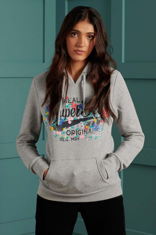 "Superdry Damen Sweatshirt ""Real Originals Floral Hoodie grey marl"""