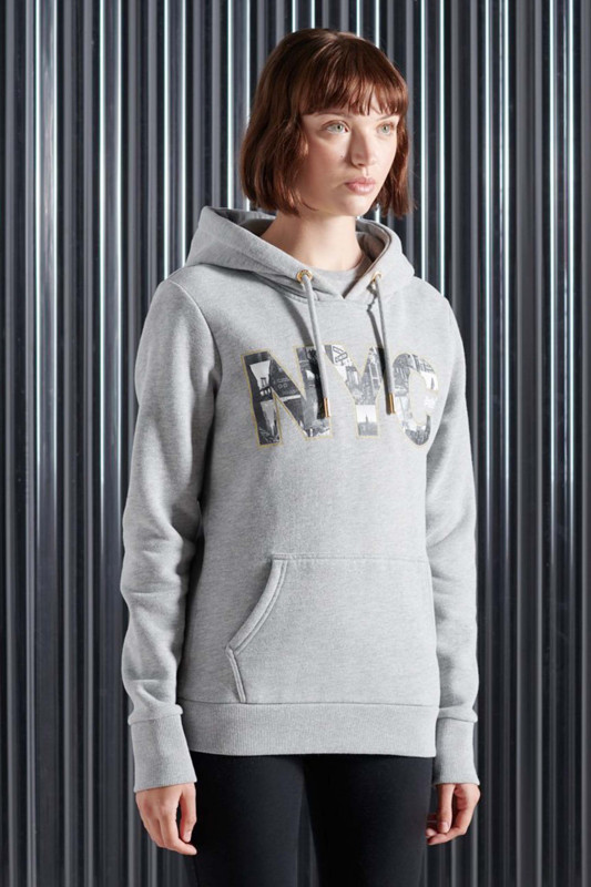 "Superdry Damen Sweatshirt ""Vintage Logo NYC Photo Hoodie grey marl"""