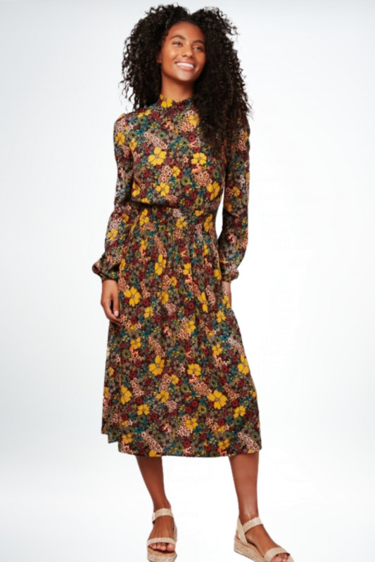 "APRICOT Damen Kleid - ""BLACK RETRO FLORAL MIDI DRESS"""