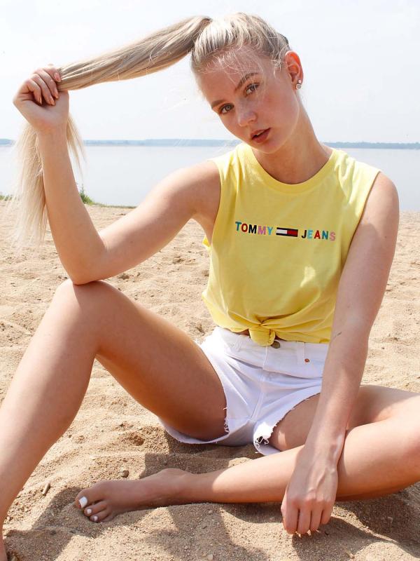 """Tommy Hilfiger Damen T-Shirt - """"TJW MULTICOLOR LINEAR LOGO TANK"""""""