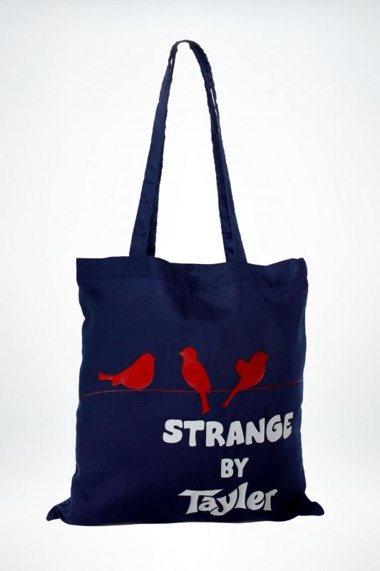 """STRANGE Damen Tasche - """"Bird Bag marine / red birds"""""""