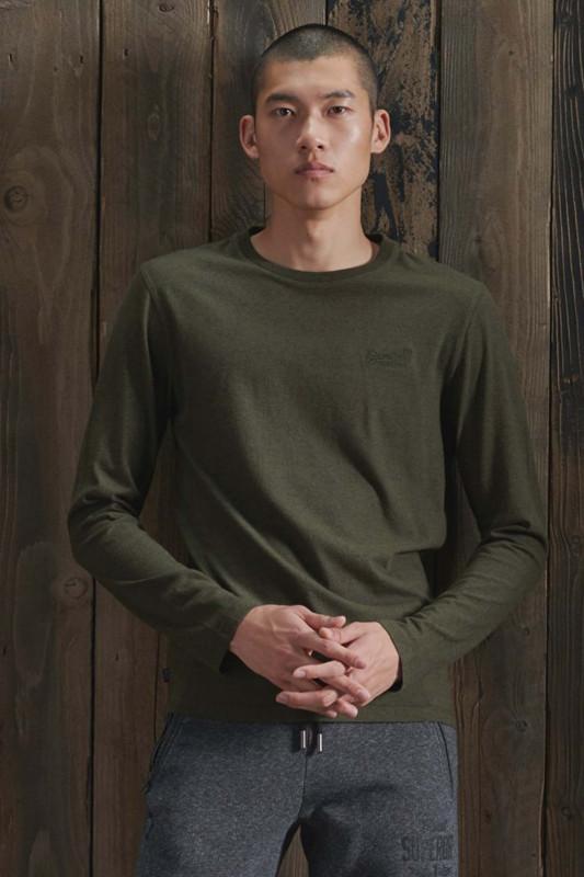"Superdry Herren T-Shirt Langarm - ""OL VINTAGE EMB LS TOP NS winter khaki grit"""