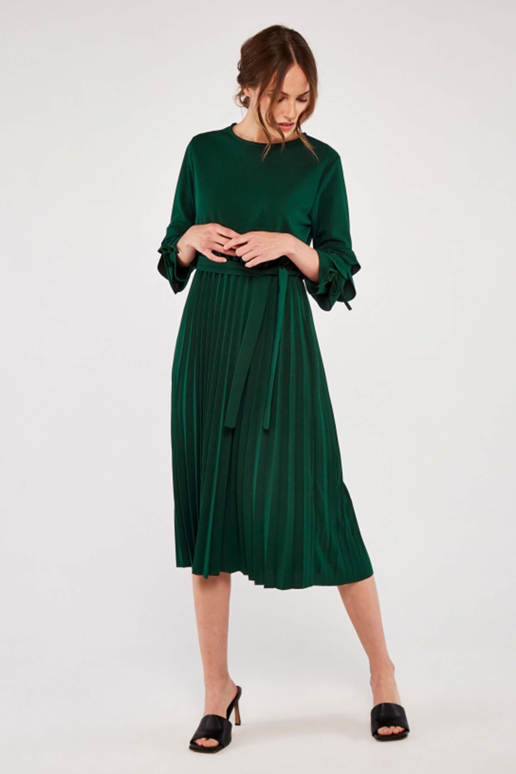 Apricot Damen Kleid Green Pleat Ruffle Sleeve Midi Dress Tayler Fashion