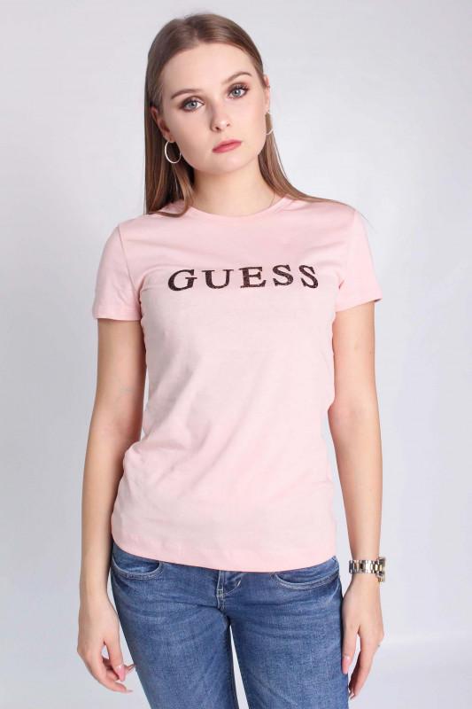 """GUESS Damen T-Shirt - """"SS CN KIMETZ TEE PRETTY IN PIN"""""""