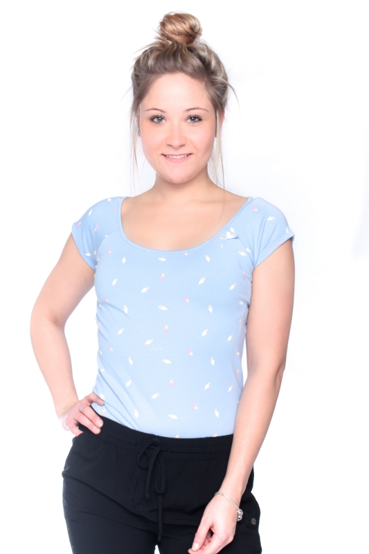 "STRANGE Damen T-Shirt - ""DESI 2 angel blue / icecream"""