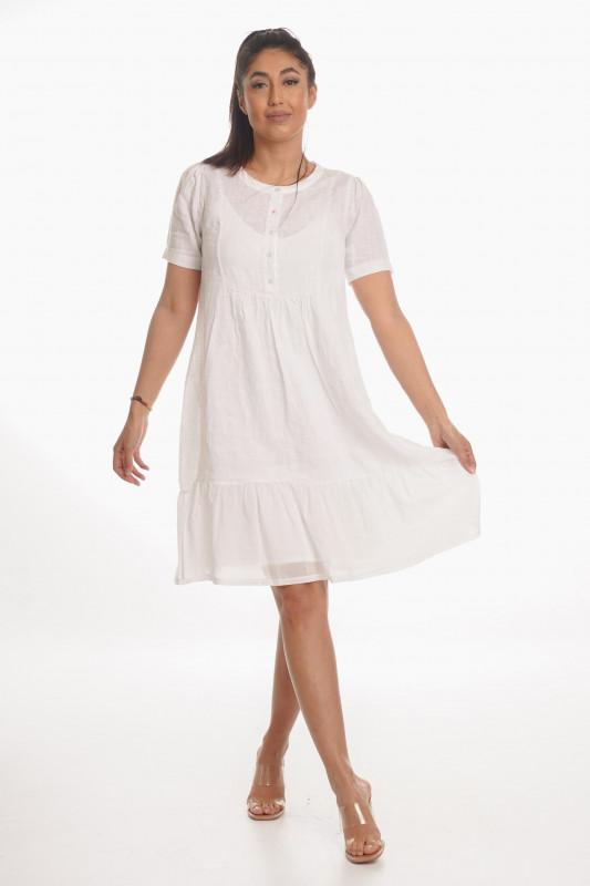 "Grace Damen Kleid-""Leinenkleid Volant white"""