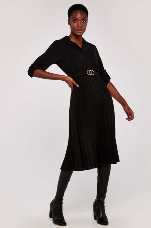 """APRICOT Damen Kleid - """"BLACK CIRCLES BELT PLEATED MIDI DRESS"""""""