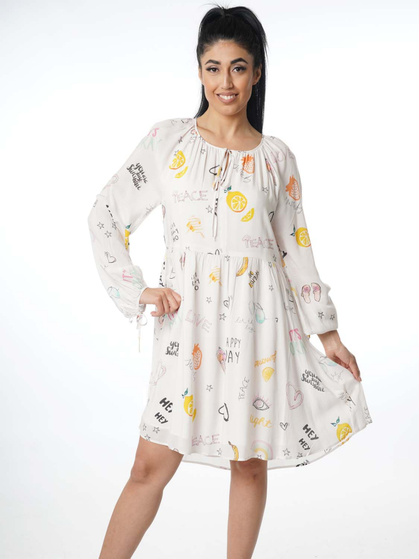 "Grace Damen Kleid - ""Dress allover fruits cream"""