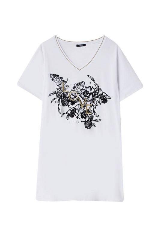 """LIU JO Damen T-Shirt - """"Long-T-Shirt mit Print"""""""