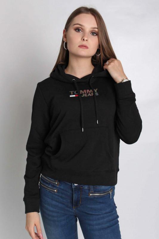 """TOMMY HILFIGER Damen Sweatshirt - """"Slim metal corp logo hoodie black"""""""