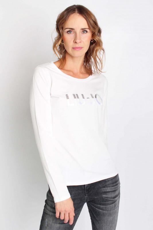 "LIU JO Damen Longsleeve - ""T-Shirt M/C snow wh.LiuJo sequin"""
