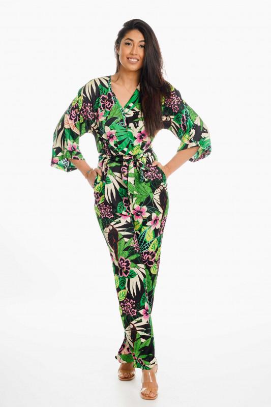 """Grace Damen Jumpsuit- """"Jumpsuit jungle pattern green"""""""