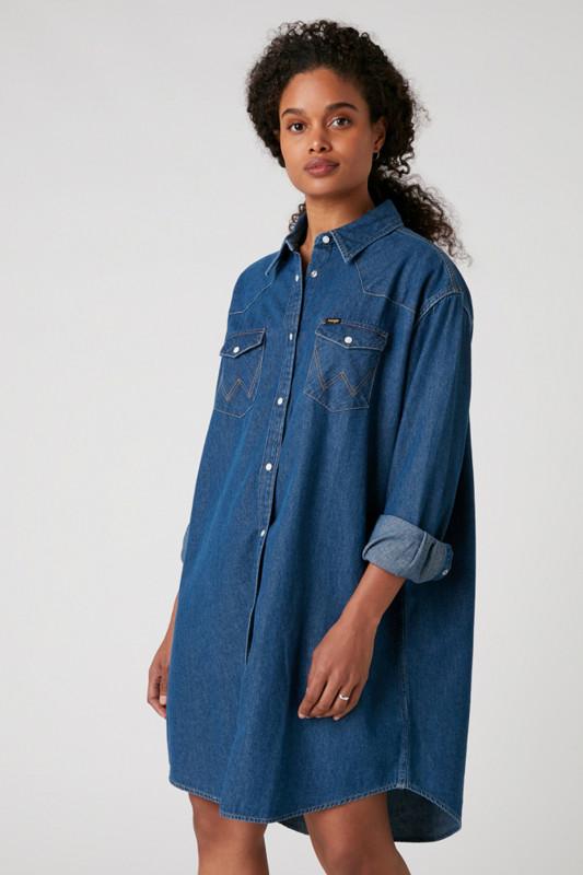 "WRANGLER Damen Jeanskleid - ""Denim Western Dress mid indigo"""