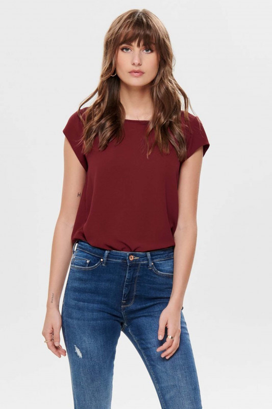"""ONLY Damen T-Shirt - """"Vic ss solid top merlot"""""""