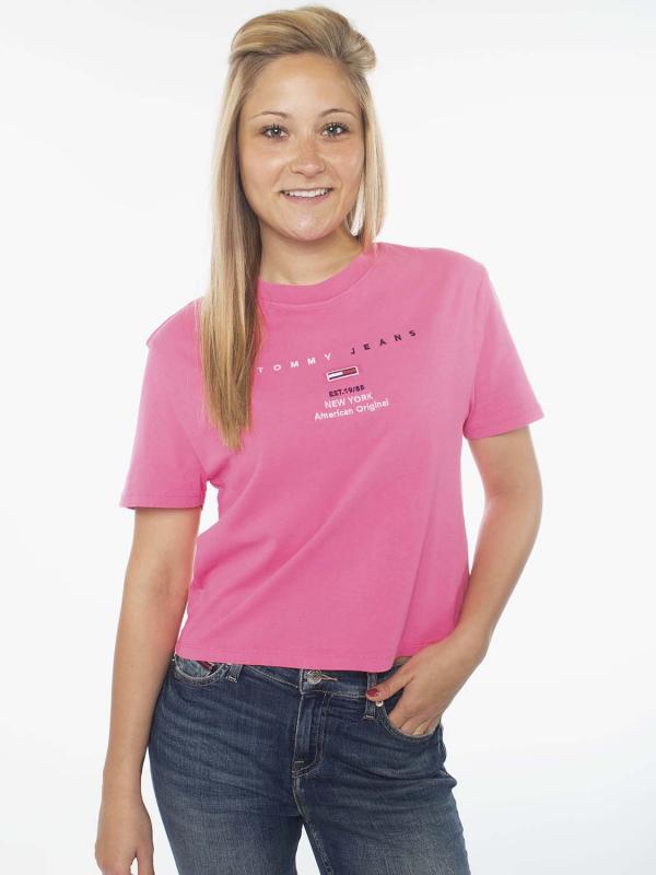 """Tommy Hilfiger Damen T-Shirt - """"Branded Neck Tee pink"""""""
