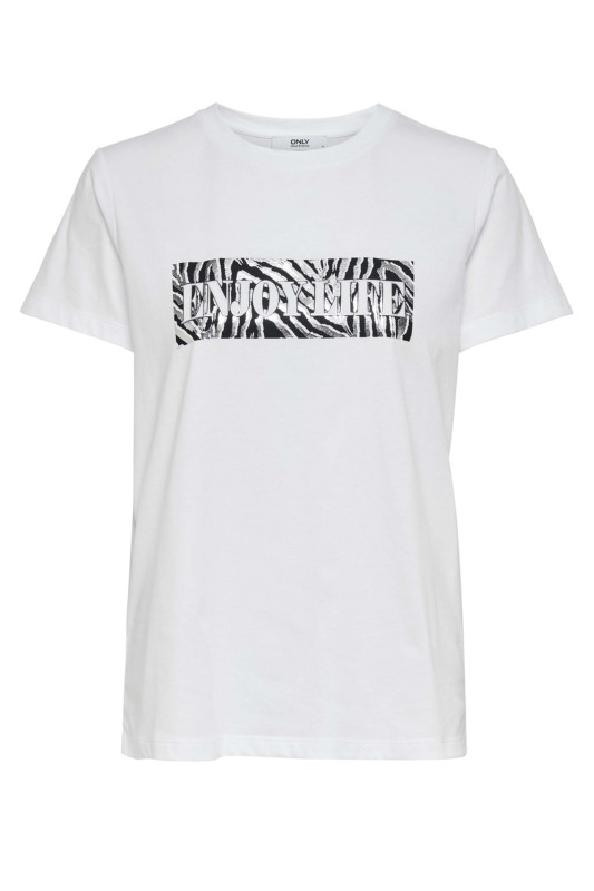 "ONLY Damen T-Shirt - Neo S/S foil T-Shirt white zebra"""