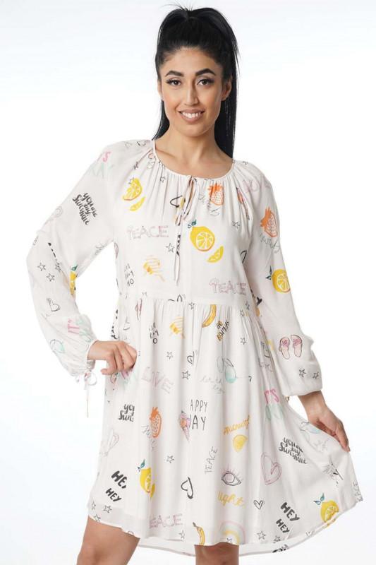 """Grace Damen Kleid - """"Dress allover fruits cream"""""""