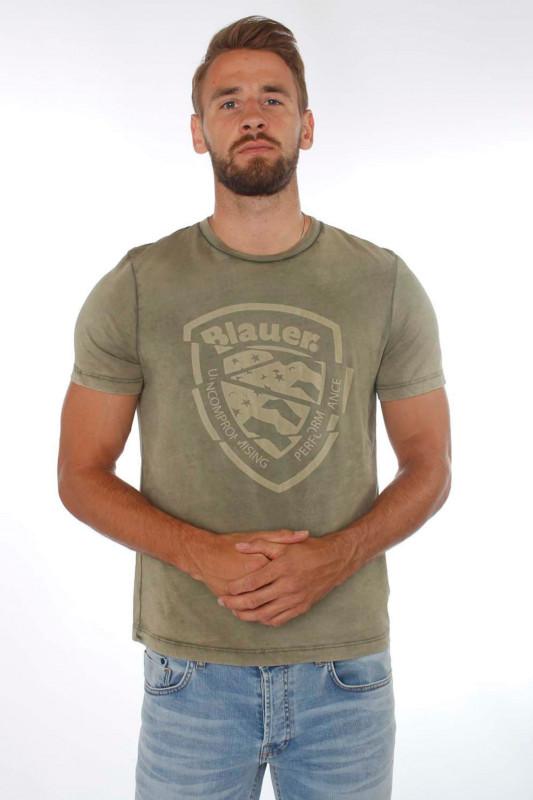 "BLAUER USA Herren T-shirt - ""T-shirt manica corta verde o"""