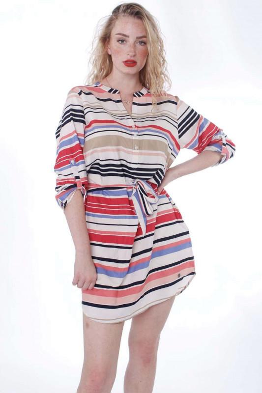"STRANGE Damen Kleid - ""Petra Offwhite / Colorful Stripes"""