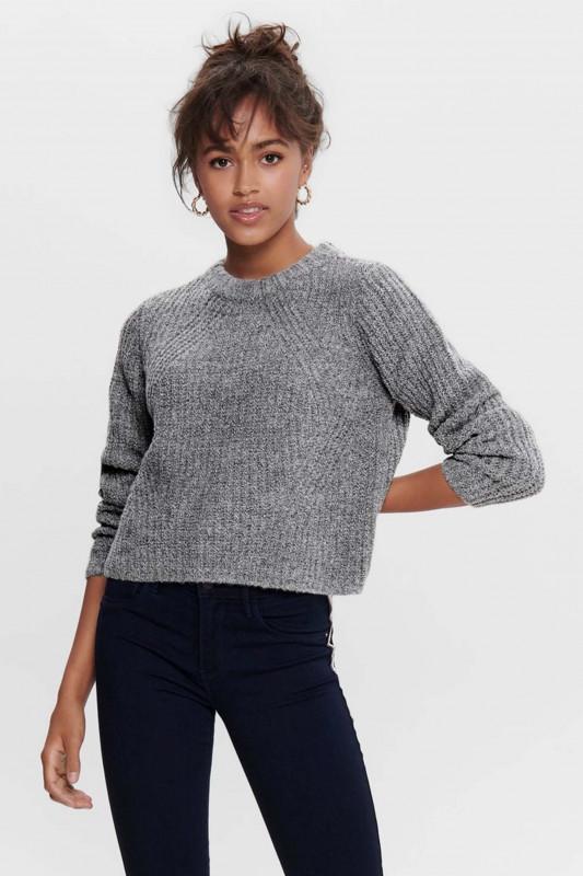 """ONLY Damen Pullover - """"Fiona LS Pullover med grey"""""""