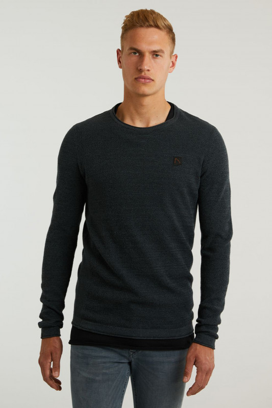 "CHASIN' Herren Pullover - ""Basal mixed knitwear dk.blue"""