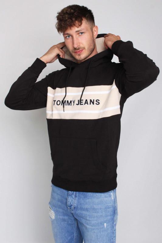 """TOMMY HILFIGER Herren Sweatshirt - """"TJM Pieced Band Logo Hoodie blk / smooth stone"""""""