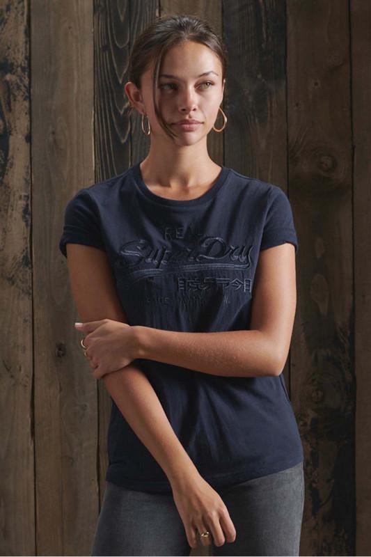 "Superdry Damen T-Shirt - ""VL TONAL EMB TEE NAUTICAL NAVY"""