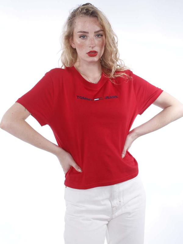 """Tommy Hilfiger Damen T-Shirt - """"Modern Linear Logo Tee deep cr"""""""