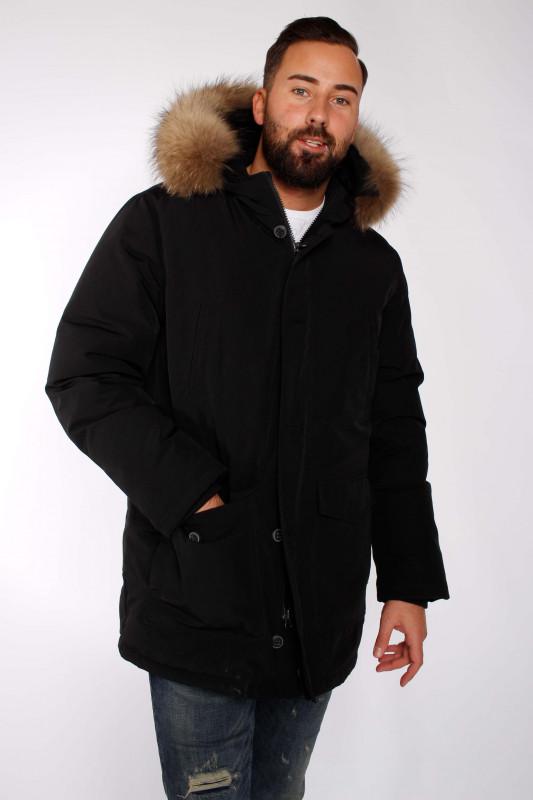 "BOMBOOGIE Herren Winterjacke - ""Parka Uomo Real Fur black"""