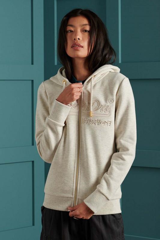 "Superdry Damen Sweatshirt ""Vintage Logo Tonal Embroidered Hoodie mcqueen marl"""