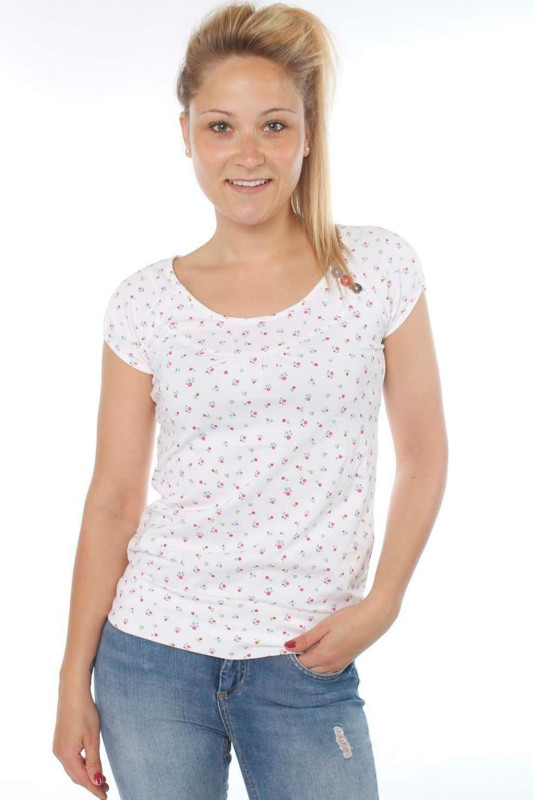 "STRANGE Damen T-Shirt - ""KELLY white / colorful flowers"""