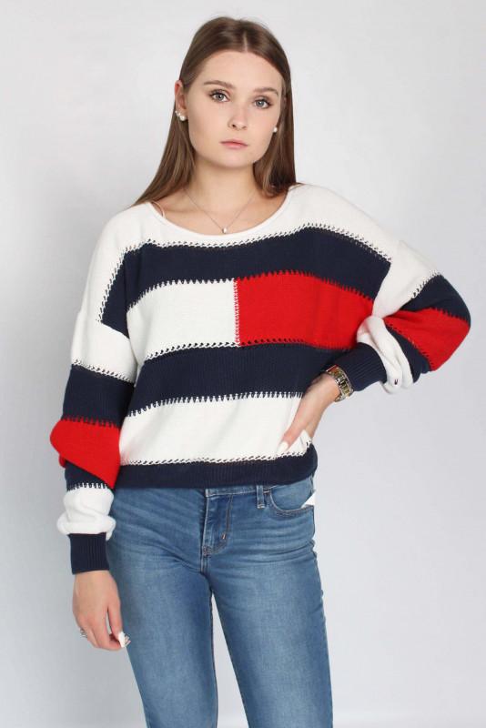 """TOMMY HILFIGER Damen Pullover - """"RWB Stripe Sweater snow white"""""""