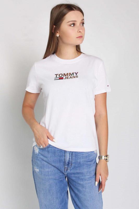"TOMMY HILFIGER Damen T-Shirt - ""Reg metallic corp logo Tee white"""