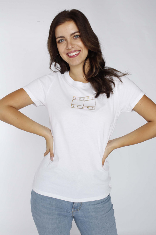 "TOMMY HILFIGER Damen T-Shirt - ""Outline flag Tee white"""