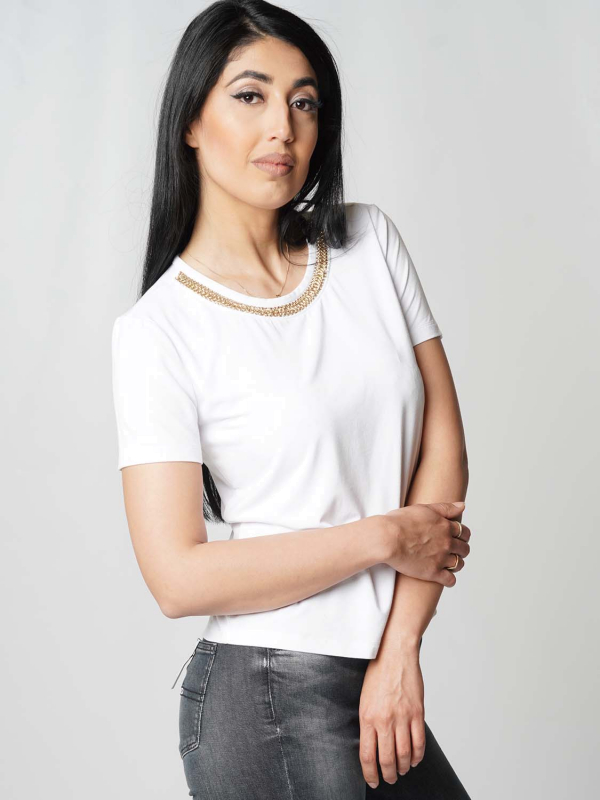 "Guess Damen T-Shirt - ""SS CN Leanna Top blanc pur"""