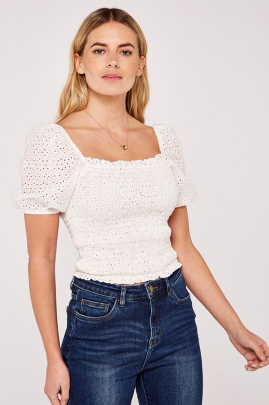"APRICOT Damen T-Shirt - ""Smocked white"""